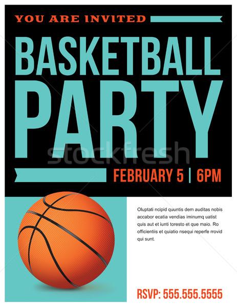 Basketball Party Flyer Invitation Illustration Stock photo © enterlinedesign