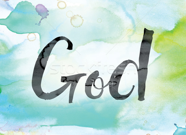 God Colorful Watercolor and Ink Word Art Stock photo © enterlinedesign