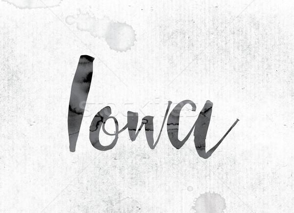 Айова окрашенный чернила слово акварель белый Сток-фото © enterlinedesign
