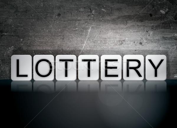 лотерея плиточные письма слово написанный белый Сток-фото © enterlinedesign