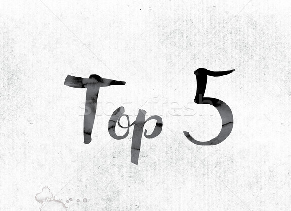 Top 5 Concept Painted in Ink Stock photo © enterlinedesign