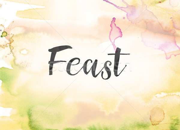 Feast Concept Watercolor and Ink Painting Stock photo © enterlinedesign