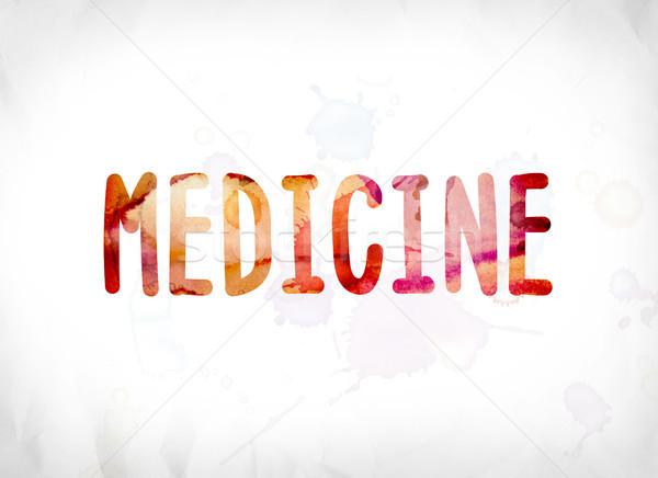 Geneeskunde geschilderd aquarel woord kunst kleurrijk Stockfoto © enterlinedesign