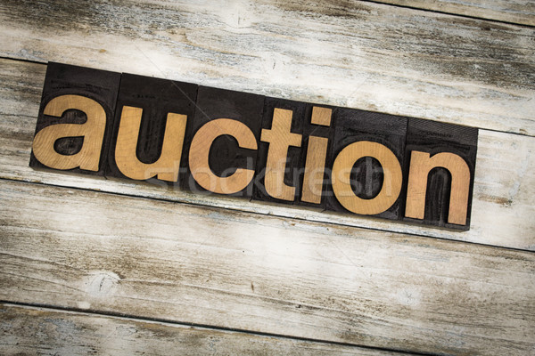 Stock photo: Auction Letterpress Word on Wooden Background