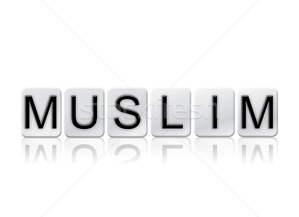 Stock fotó: Muszlim · csempézett · szó · izolált · fehér · írott