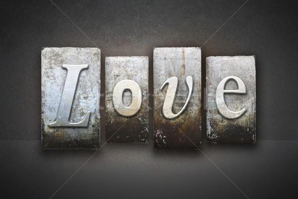 Szeretet magasnyomás szó írott klasszikus Stock fotó © enterlinedesign