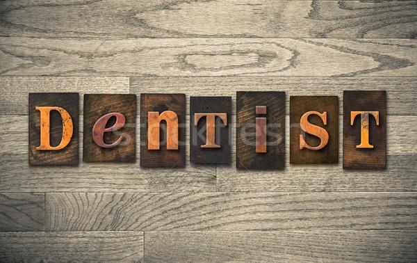 Dişçi ahşap kelime yazılı bağbozumu Stok fotoğraf © enterlinedesign