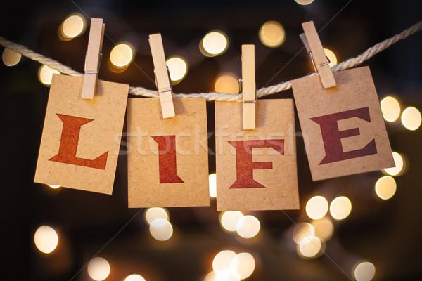 życia karty światła słowo wydrukowane clothespin Zdjęcia stock © enterlinedesign