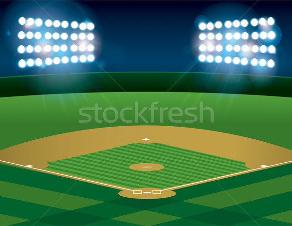 Baseball softball domaine nuit vecteur Photo stock © enterlinedesign