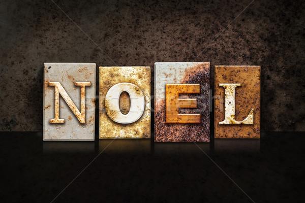 Noel Letterpress Concept on Dark Background Stock photo © enterlinedesign