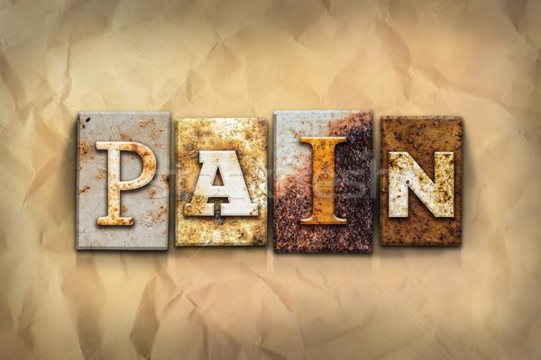 Fájdalom rozsdás fém szó írott Stock fotó © enterlinedesign