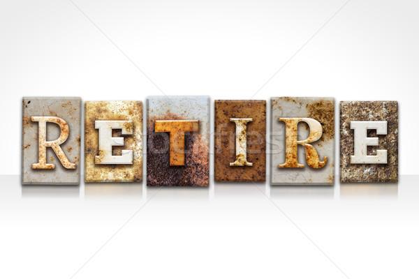 Andare in pensione isolato bianco parola scritto Foto d'archivio © enterlinedesign