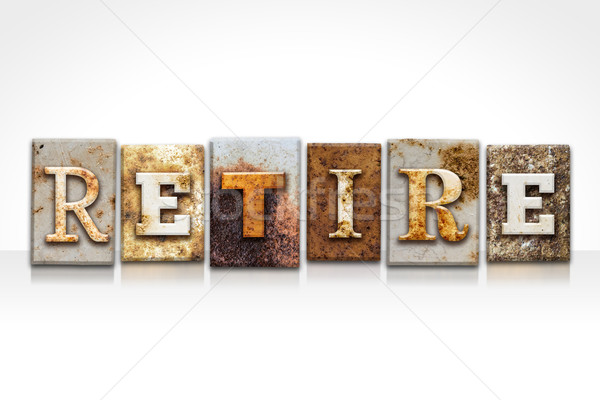 Retire Letterpress Concept Isolated on White Stock photo © enterlinedesign