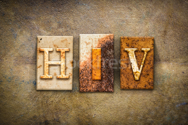 HIV Concept Letterpress Leather Theme Stock photo © enterlinedesign