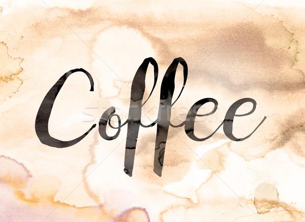 Caffè acquerello parola scritto nero vernice Foto d'archivio © enterlinedesign