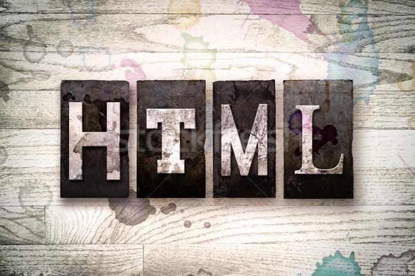 Html metaal type woord geschreven Stockfoto © enterlinedesign