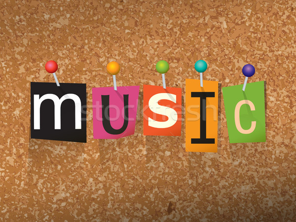 Music Concept Pinned Letters Illustration Stock photo © enterlinedesign