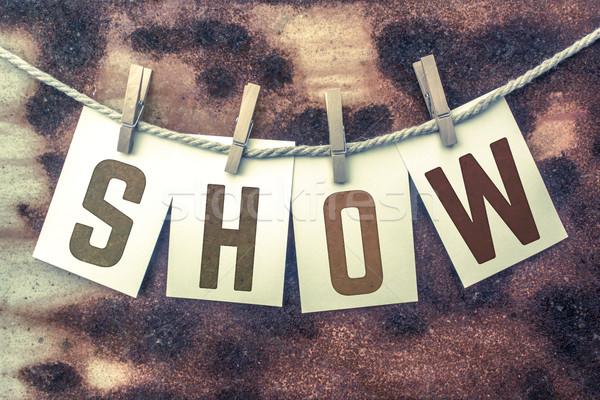 Előadás kártyák zsinór szó öreg darab Stock fotó © enterlinedesign
