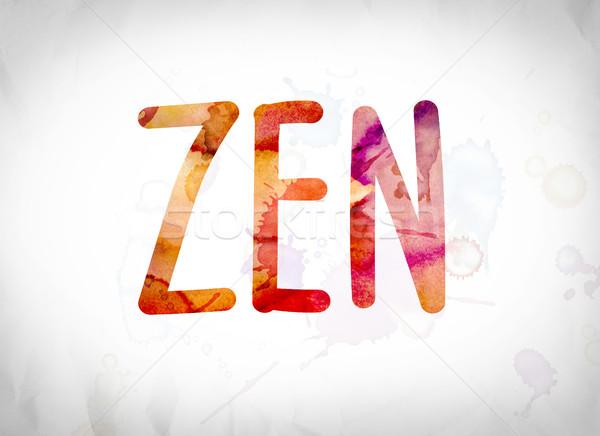 Zen aquarel woord kunst geschreven witte Stockfoto © enterlinedesign