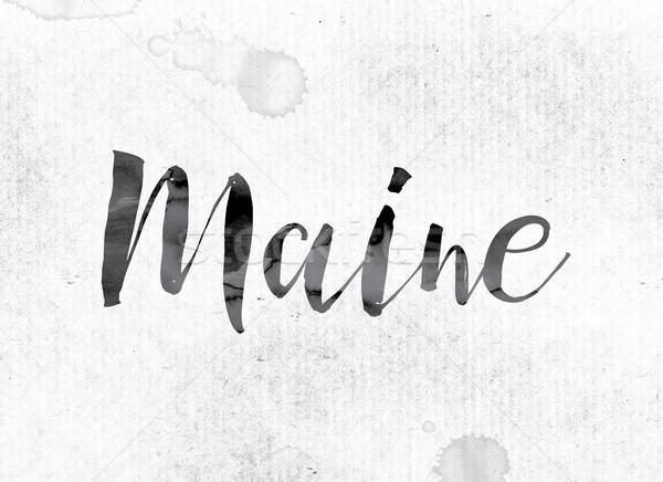Maine festett tinta szó vízfesték fehér Stock fotó © enterlinedesign