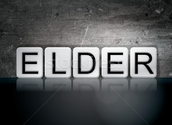 Holunder gefliesten Wort geschrieben weiß Fliesen Stock foto © enterlinedesign