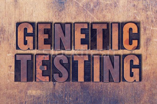 Genético pruebas palabra madera palabras Foto stock © enterlinedesign