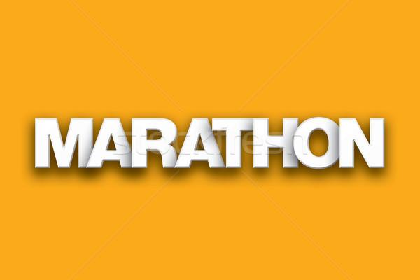 マラソン 言葉 芸術 カラフル 書かれた 白 ストックフォト © enterlinedesign