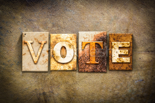 Vote Concept Letterpress Leather Theme Stock photo © enterlinedesign
