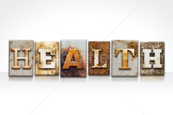 Health Letterpress Concept Isolated on White Stock photo © enterlinedesign