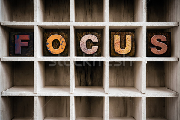 Focus Concept Wooden Letterpress Type in Draw Stock photo © enterlinedesign