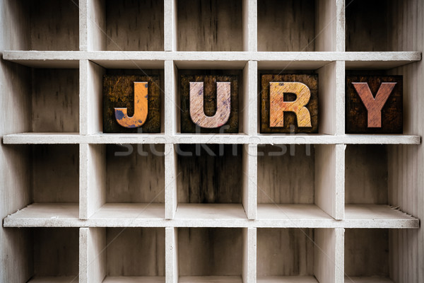 Jury houten type lade woord Stockfoto © enterlinedesign