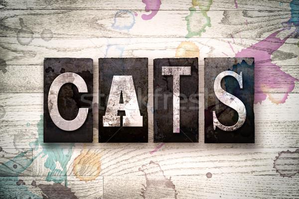 Cats Concept Metal Letterpress Type Stock photo © enterlinedesign