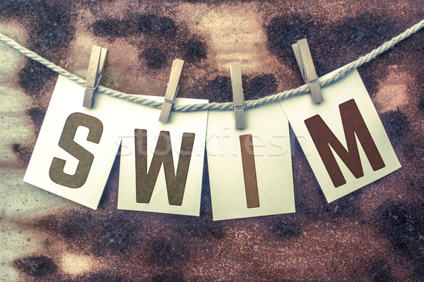 Swim Concept Pinned Stamped Cards on Twine Theme Stock photo © enterlinedesign