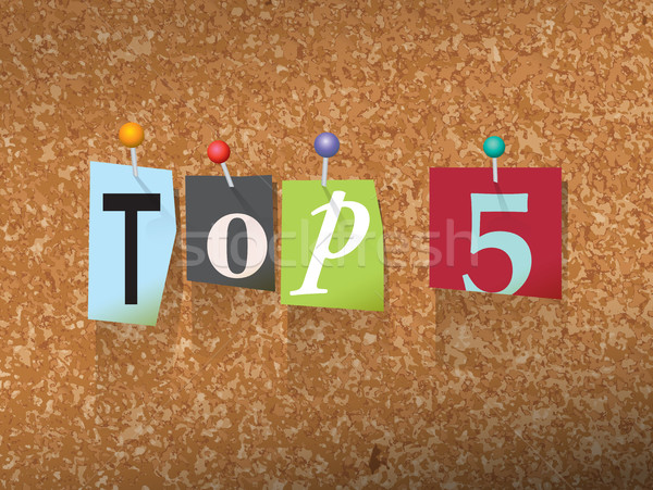 Top 5 Pinned Paper Concept Illustration Stock photo © enterlinedesign