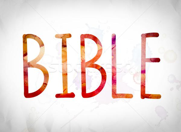 Bible Concept Watercolor Word Art Stock photo © enterlinedesign