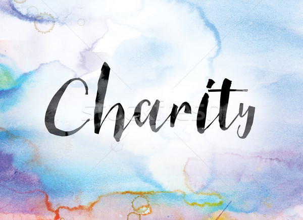 Charity Colorful Watercolor and Ink Word Art Stock photo © enterlinedesign