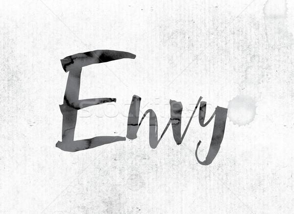 Invidiare verniciato inchiostro parola acquerello bianco Foto d'archivio © enterlinedesign
