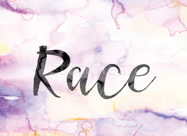 Stock photo: Race Colorful Watercolor and Ink Word Art