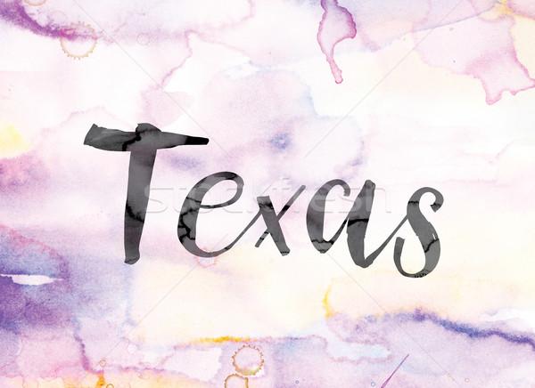 Texas colorido acuarela tinta palabra arte Foto stock © enterlinedesign