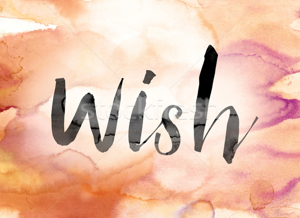 Wish Colorful Watercolor and Ink Word Art Stock photo © enterlinedesign