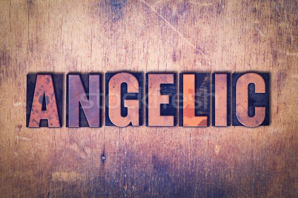 Angelical palabra madera escrito vintage Foto stock © enterlinedesign
