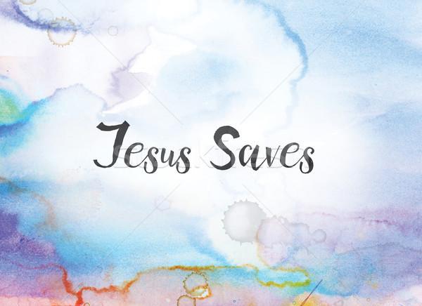 Stok fotoğraf: İsa · suluboya · mürekkep · boyama · sözler · yazılı