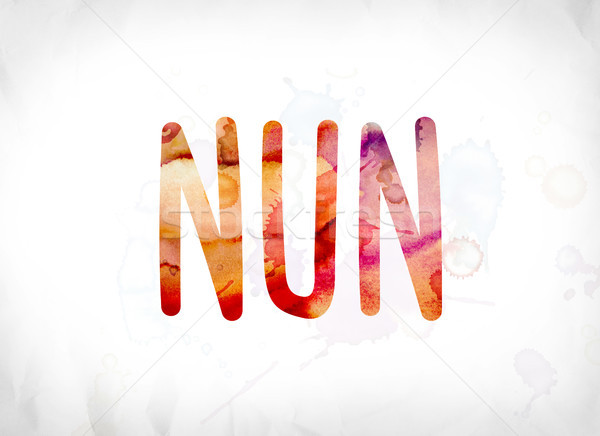 Nun Concept Painted Watercolor Word Art Stock photo © enterlinedesign