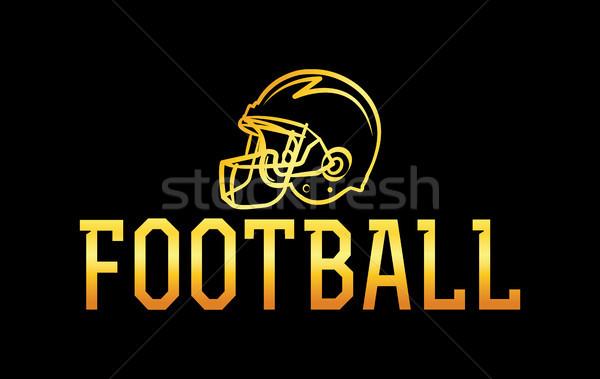 Amerikaanse voetbal goud helm illustratie icon Stockfoto © enterlinedesign