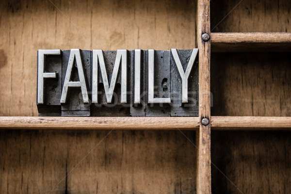 Family Letterpress Type in Drawer Stock photo © enterlinedesign