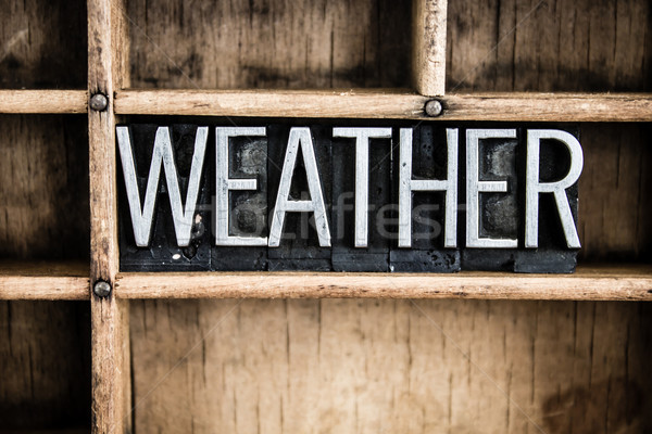 Weather Concept Metal Letterpress Word in Drawer Stock photo © enterlinedesign