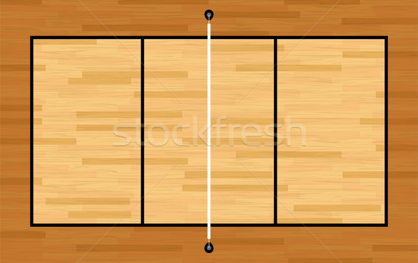 Aerial View of Hardwood Volleyball Court Illustration Stock photo © enterlinedesign