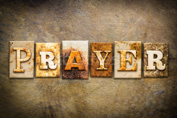 Prayer Concept Letterpress Leather Theme Stock photo © enterlinedesign