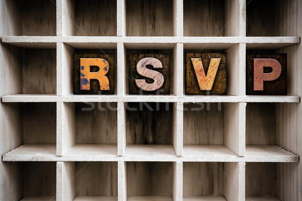 RSVP Concept Wooden Letterpress Type in Drawer Stock photo © enterlinedesign
