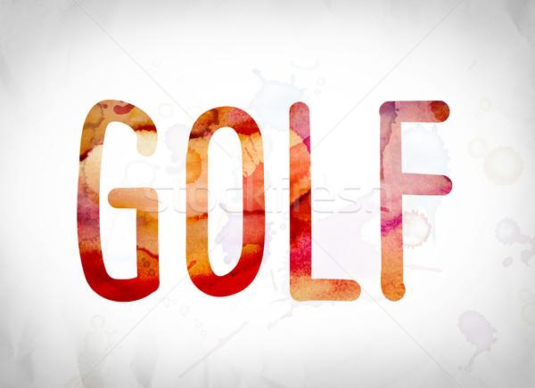 Golf Concept Watercolor Word Art Stock photo © enterlinedesign